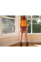 black Jeffrey Campbell boots - orange no brand shirt - maroon Insight shorts
