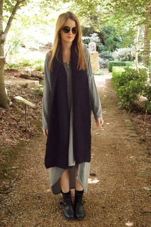 black handmade scarf - black Sportsgirl boots - charcoal gray alice mccall dress