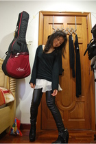 black sam edelman boots - black Topshop leggings - black Topshop shirt