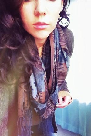 dark brown H&M cardigan - camel wool-cashmere JCrew sweater