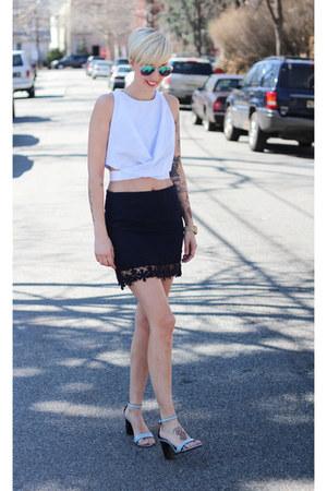 Zara heels - H&M sunglasses - Zara skirt - Zara top