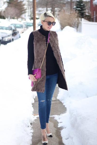 BB Dakota vest - Zara jeans - Zara sweater - Diane Von Furstenberg bag