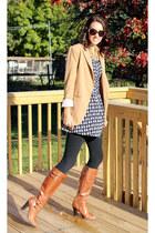 Ann Taylor Loft boots - H&M dress - Forever 21 leggings - Forever 21 blazer