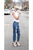 Zara jeans - H&M sunglasses - Zara heels - Zara top
