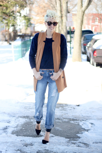 H&M vest - asos jeans - H&M sweater - Zara heels
