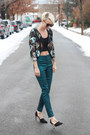 Victorias-secret-jacket-asos-pants-asos-top-zara-heels