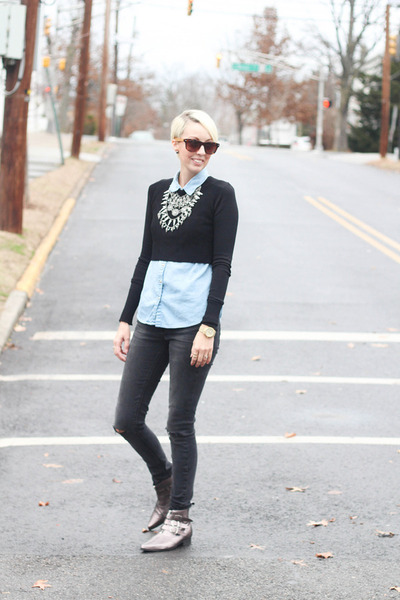 Zara necklace - asos boots - Zara jeans - H&M shirt - Zara top