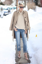 Victorias Secret coat - asos jeans - Zara sweater - Karen Walker sunglasses