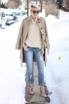 Victorias Secret coat - asos jeans - Zara sweater - Karen Walker sunglasses