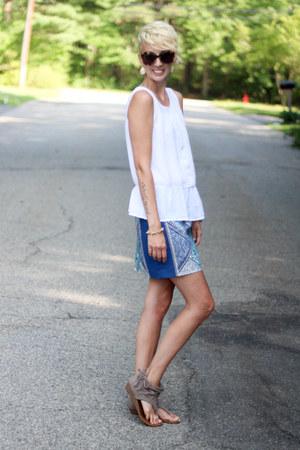 H&M top - Karen Walker sunglasses - Express sandals - H&M skirt