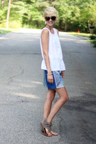 H&M top - Karen Walker sunglasses - Express sandals - H&M skirt