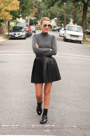 Zara boots - Zara top - H&M skirt