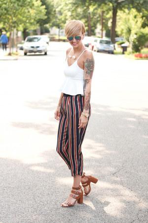 Zara heels - H&M sunglasses - Sheinsidecom top - Zara pants