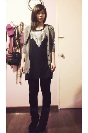 black tempstation shirt - black suede boots HK Brand boots