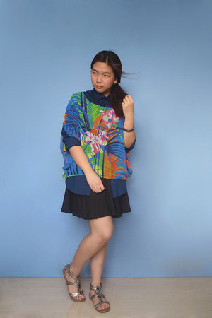 blue printed flea market top - navy H&M shirt - black cotton on skirt