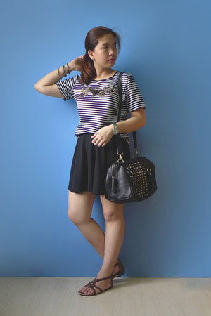 black studded H&M bag - black skirt - striped vintage top - dark brown sandals