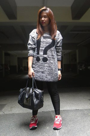 marled knit sweater - black leggings - black studded H&M bag - red sneakers