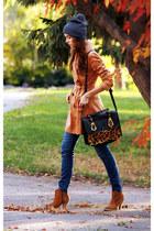 black asos bag - camel asos boots - mustard asos coat - navy Topshop hat