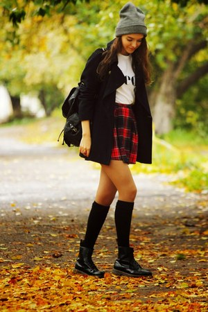 ruby red Glamorous skirt - black Dr Martens boots - navy asos coat