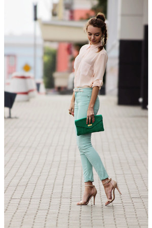 warehouse jeans - asos shirt - River Island bag - Steve Madden heels