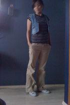 blue JCrew blouse - blue Gap vest - beige Gap pants - white Adriano Goldschmied