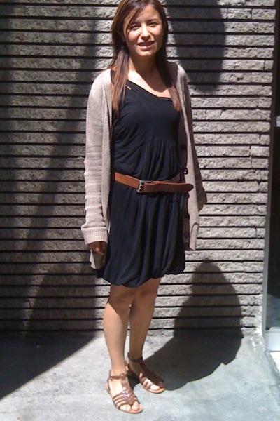 brown Zara sweater - black SilenceNoise dress - brown Steve Madden belt - brown