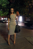 beige Max Danieli Milano dress - charcoal gray Francesco Biasia bag