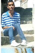 blue DKNY jeans - white Converse shoes - blue Edoardos t-shirt