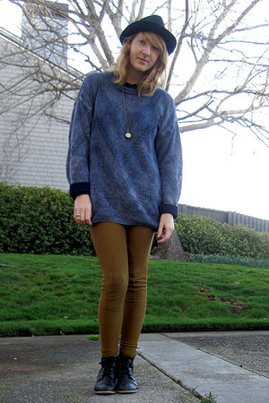 Sway boots - thrifted sweater - riding pants American Apparel pants