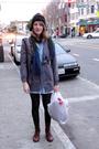 Blue-dkny-dress-black-aldo-tights-gray-f21-coat-brown-urban-shoes