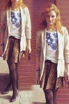 brown leopard Zara skirt - light pink Zara blazer