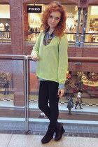 sky blue denim Only shirt - black Mango jeans - H&M necklace - lime green jumper