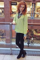 sky blue denim Only shirt - black Mango jeans - H&M necklace - lime green jumper