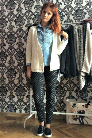 blue denim H&M shirt - navy printed H&M pants - cream Zara cardigan