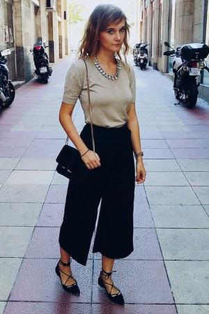 black Mango flats - black H&M pants - dark khaki Naf Naf top