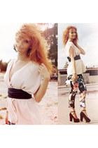 floral print H&M pants - black Zara heels