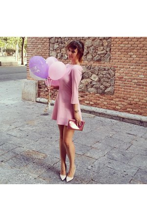pink Zara dress - pink H&M purse - light pink Zara heels