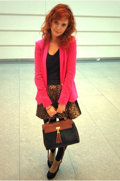 brown leopard print skirt - hot pink Zara blazer - Aldo bag - black H&M wedges