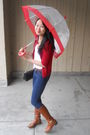 Red-moms-closet-cardigan-white-lux-top-brown-belt-blue-uniqlo-jeans-bro