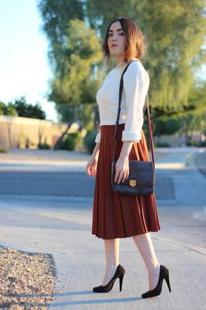 thrifted skirt - Forever 21 sweater - Forever 21 heels