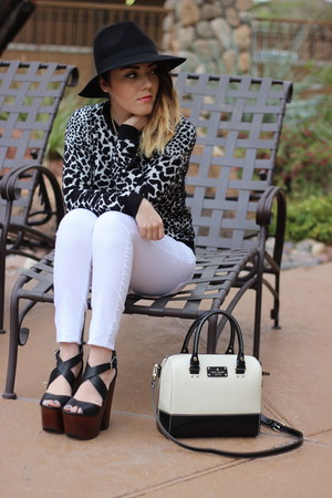 Topshop sweater - Forever 21 hat - kate spade purse - Chinese Laundry wedges