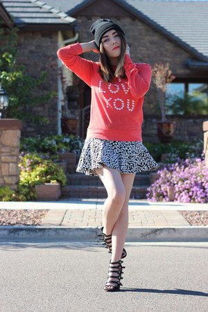 PacSun hat - wildfox couture sweater - Guess skirt