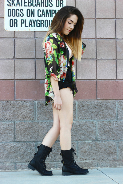 thrifted blouse - Lulus boots - Topshop shorts - Forever 21 bodysuit