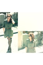 olive green safari dress Urban Renewal dress - camel Nine West heels - black thi