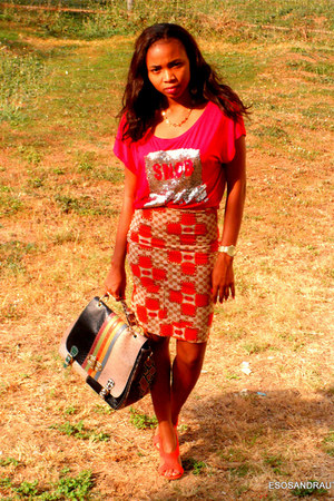 carrot orange pencil skirt UTD skirt - red snob crop top UTD top