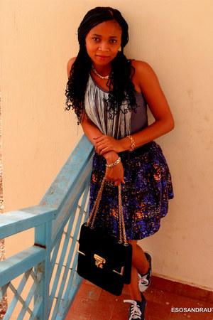 heather gray UTD top - fringe top top - UTD top - navy color splash UTD skirt
