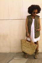 white pull&bear dress - camel studded Zara boots - camel Mango bag