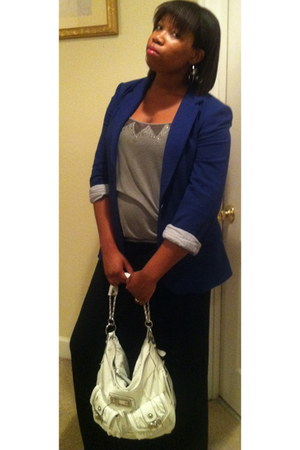 navy Marciano blazer - white Guess bag - heather gray Guess blouse - black maxi