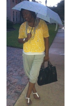 silver Guess pants - white cami Aerie shirt - yellow H&M shirt - black Zara bag