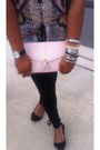White-kimono-zara-dress-black-boston-proper-leggings-light-pink-clutch-h-m-b
